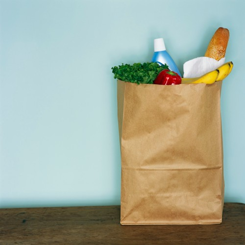 Groceries in Brown Paper Bag